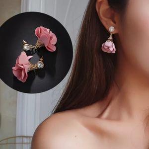 Fabric Floral Dangle Drop Earrings